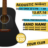 Acoustic night performance poster in your club Indie musician concert show with realistic guitar vector illustration