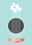 Acoustic Party. Conceptual creative illustration with acoustic guitar hole and wine glasses as the strings Royalty Free Stock Image