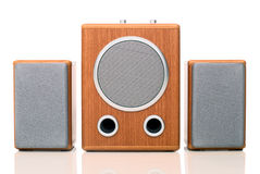 Acoustic sound system. With two speakers in wood case isolated on white background with shadow Stock Photos