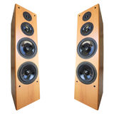 Acoustic stereo system. Acoustic stereo 3-way system, isolated on white. Square composition Royalty Free Stock Images