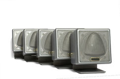 Acoustic system. Acoustic speakers isolated on white Royalty Free Stock Photography