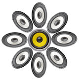 Acoustic system. Background of black speaker with sphere Royalty Free Stock Images