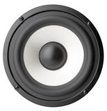 Acoustic system. Background of black speaker with sphere Stock Photo