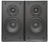 Acoustic system. Background of black speaker with sphere Stock Photos