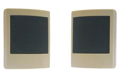 Acoustic system. Small computer acoustic system, two elements on a white background Stock Images