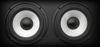 Acoustic system. Background of black speaker with sphere Royalty Free Stock Photo