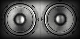 Acoustic system. Background of black speaker with sphere Stock Images