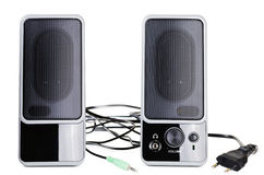 Acoustic system. An acoustic system over the white background Stock Photos