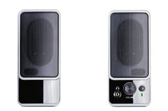 Acoustic system. An acoustic system over the white background Royalty Free Stock Photos