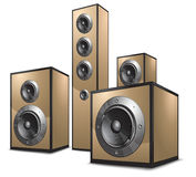 Acoustic system in gold Stock Image