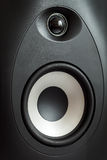 Acoustic tweeter and bass loudspeaker, stereo speaker close up. Active studio monitors, audio a column a view behind on governing bodies royalty free stock images