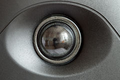 Acoustic tweeter loudspeaker, stereo speaker close up. Active studio monitors, audio a column a view behind on governing bodies Royalty Free Stock Photos