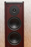 Acoustic wooden sound system with three speakers. Acoustic wooden sound system with three speakers on the gray background Stock Photos