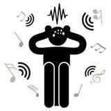 Acousticophobia Medo dos sons e do ruído O homem obstrui suas orelhas com suas mãos Homem de Afraided Logotipo, ícone, silhueta,  ilustração stock