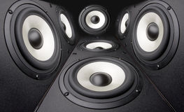 Acoustics systems. Background of black speakers systems Royalty Free Stock Photo