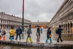 Acqua Alta (alta marea) a Venezia, Italia Fotografia Stock Libera da Diritti