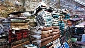 Acqua Alta bokhylla i Venedig: en favorit- turist- destination för en fotofors arkivfoto