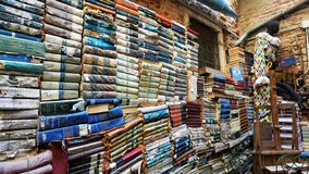 Acqua Alta Bookcase i Venedig: den första utomhus- borggården med böcker royaltyfri foto