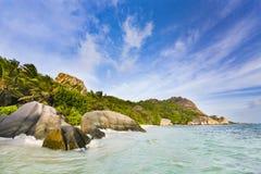 Acqua alta nella laguna, La Digue, Seychelles Fotografia Stock