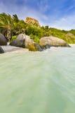 Acqua alta nella laguna, La Digue, Seychelles Immagini Stock Libere da Diritti