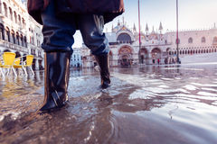 Acqua Alta In Venice Stockfoto