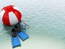acqua blu 3d con beach ball e l'attrezzatura di nuoto Fotografia Stock Libera da Diritti