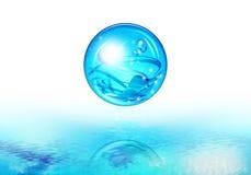 Acqua blu della bolla Fotografie Stock