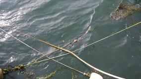 Acqua che muove i pescherecci intorno attraccati archivi video