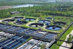 Acqua che ricicla la costruzione delle acque luride Fotografia Stock Libera da Diritti