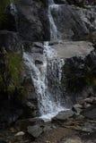 Acqua che spruzza fuori dalle rocce con il muschio verde immagini stock libere da diritti