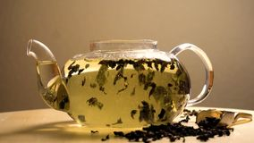 Acqua che versa in teiera con tè verde video d archivio