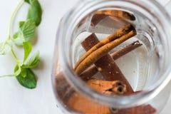Acqua con i bastoni di cannella in Mason Jar immagini stock libere da diritti