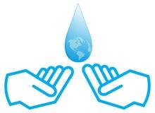 Acqua con la mano Fotografie Stock