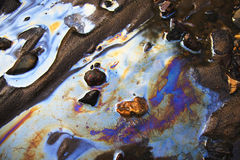 Acqua con le zone di benzina e di olio Fotografie Stock Libere da Diritti