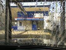 Acqua corrente dell'acqua dell'autolavaggio Fotografia Stock
