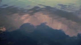 Acqua d'increspatura del lago con una riflessione delle nuvole Fuoco molle stock footage