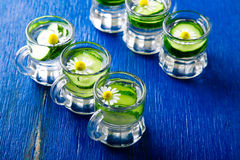 Acqua del cetriolo in sei barattoli di vetro del piccolo muratore su fondo blu rustic detox Fotografia Stock