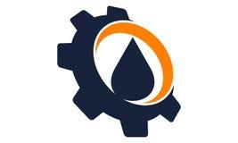 Acqua dell'olio di goccia con l'ingranaggio illustrazione di stock