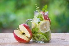 Acqua della disintossicazione con il kiwi, il limone e la mela rossa Fotografia Stock Libera da Diritti