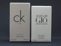 Acqua di Gio and ck One. PARIS, FRANCE - CIRCA JUNE 2016: Giorgio Armani Acqua di Gio fragrance for men and Calvin Klein One unisex,  two of the evergreen Stock Photography