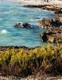 acqua di mare Bluastro verde con le onde e la schiuma bianca fotografia stock