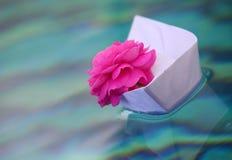 Acqua di rose di carta di rosa della barca Fotografie Stock