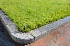 Acqua di spruzzatura della testa dell'irrigatore automatica sopra erba verde Fotografia Stock