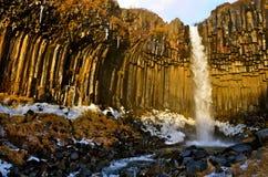 Acqua di Svartifoss nell'inverno in anticipo Immagini Stock