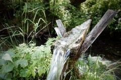 Acqua dolce che entra nella scanalatura di legno sopra la torrente montano Immagine Stock Libera da Diritti