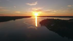 Acqua e foresta calme nel tramonto video d archivio