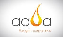 Acqua e fuoco - logo Fotografia Stock Libera da Diritti