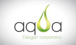 Acqua e fuoco - logo - verde Fotografie Stock