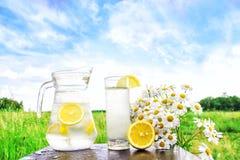 Acqua fredda fresca con il limone ed il ghiaccio in un lanciatore sulla tavola Limonata casalinga con gli agrumi freschi sui prec Fotografie Stock