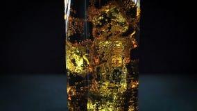 Acqua frizzante in vetro con le bolle, fine su archivi video